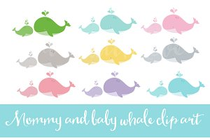 Mommy and baby whale clip art