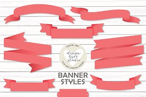 Vector coral red banners/bibbons