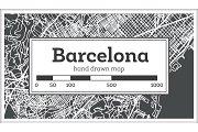 Barcelona Spain City Map in Retro