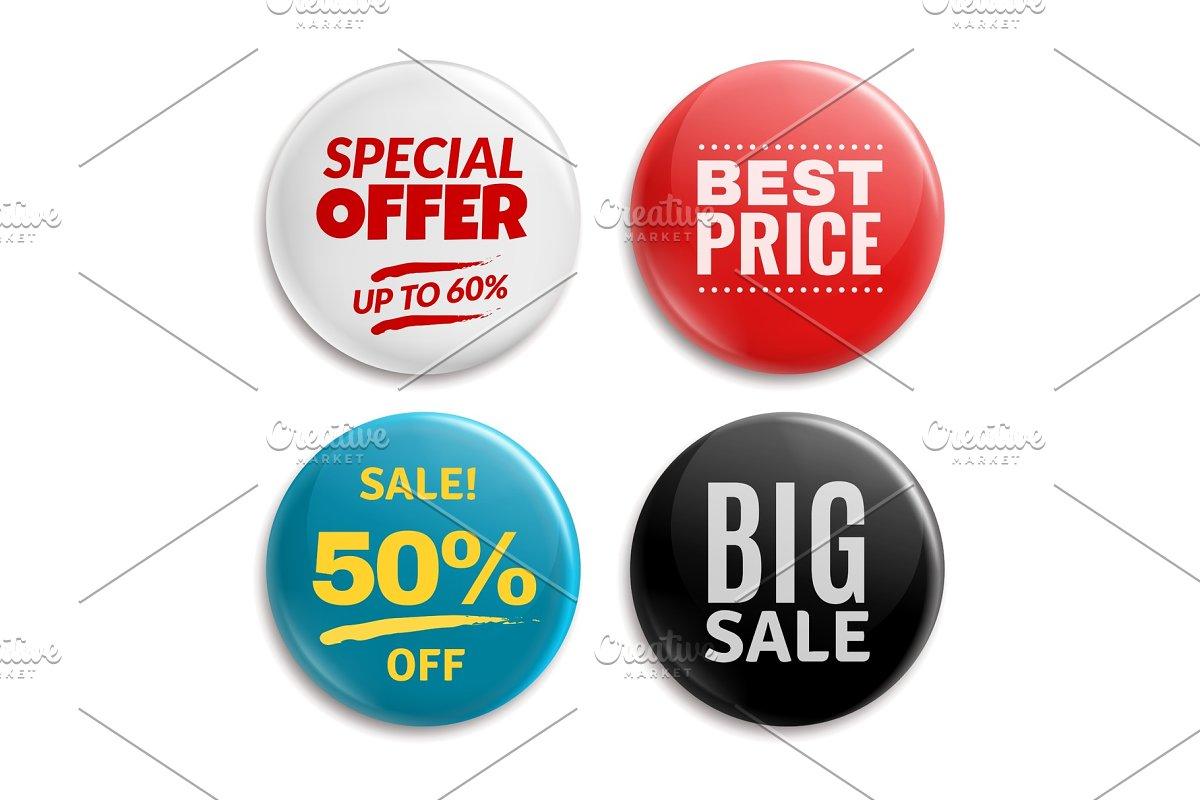 Sales pin badges. Circled badging