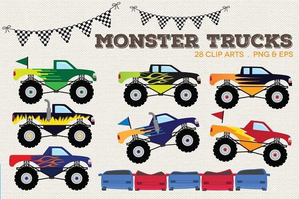 Monster Trucks Clip Art Pre Designed Illustrator Graphics Creative Market