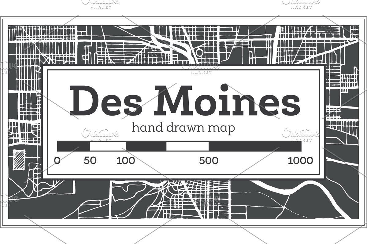 Des Moines USA City Map in Retro ~ Illustrations ~ Creative Market on