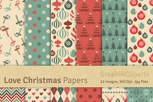 Love Christmas Digital Papers