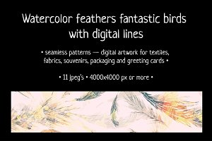 Watercolor feathers fantastic birds