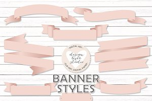 Vector Blush banners/ribbons