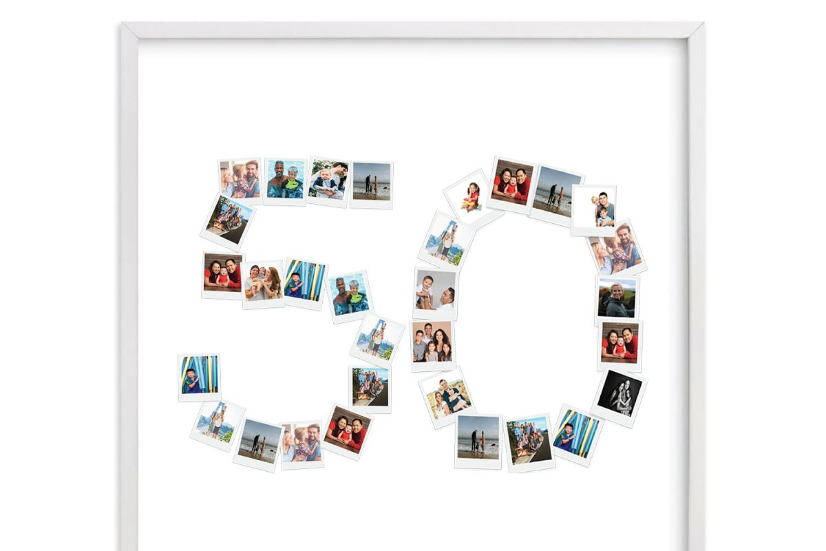 Number 50 Photo Collage Template PSD
