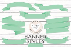 Vector mint banners/ribbons