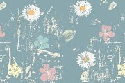 Grungy floral seamless pattern