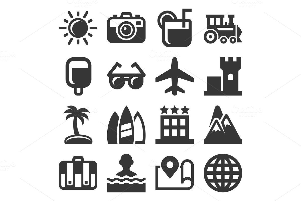 Summer Icons Set on White Background
