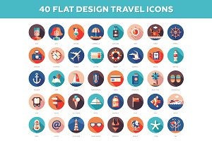 40 Travel Flat Design Icons Set