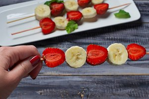 Strawberry and banana skewers