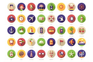 40 Travel Icons Set + Header