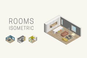 Interior isometric rooms