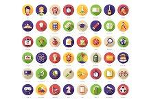 48 School Flat Design Icons + Header