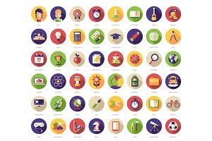 48 School Flat Design Icons + Header