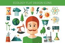 Flat Design Ecological Icons Set