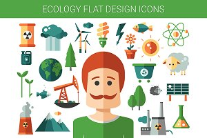 Flat Design Ecological Icons Set