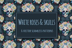 Watercolor roses & skull patterns