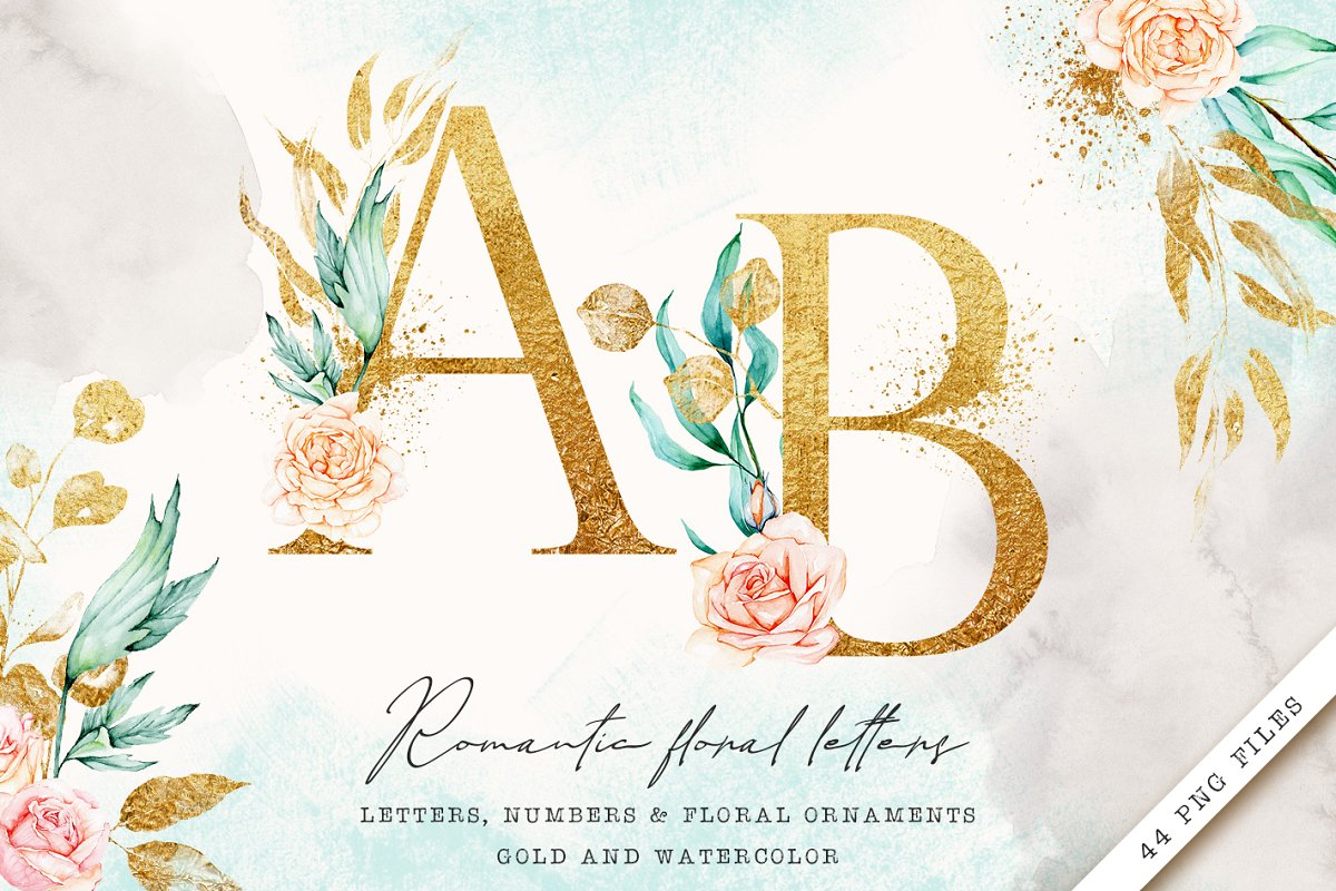 Gold monogram letters with roses
