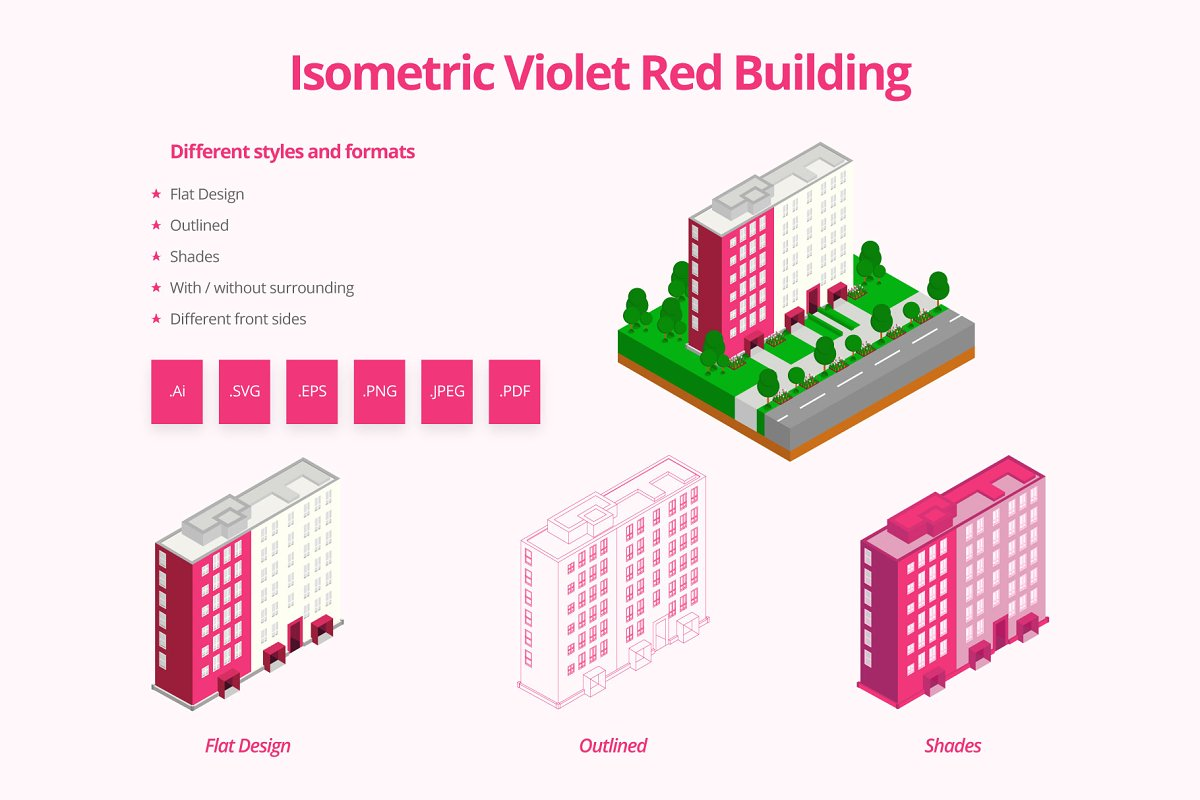 Isometric Violet Red Building