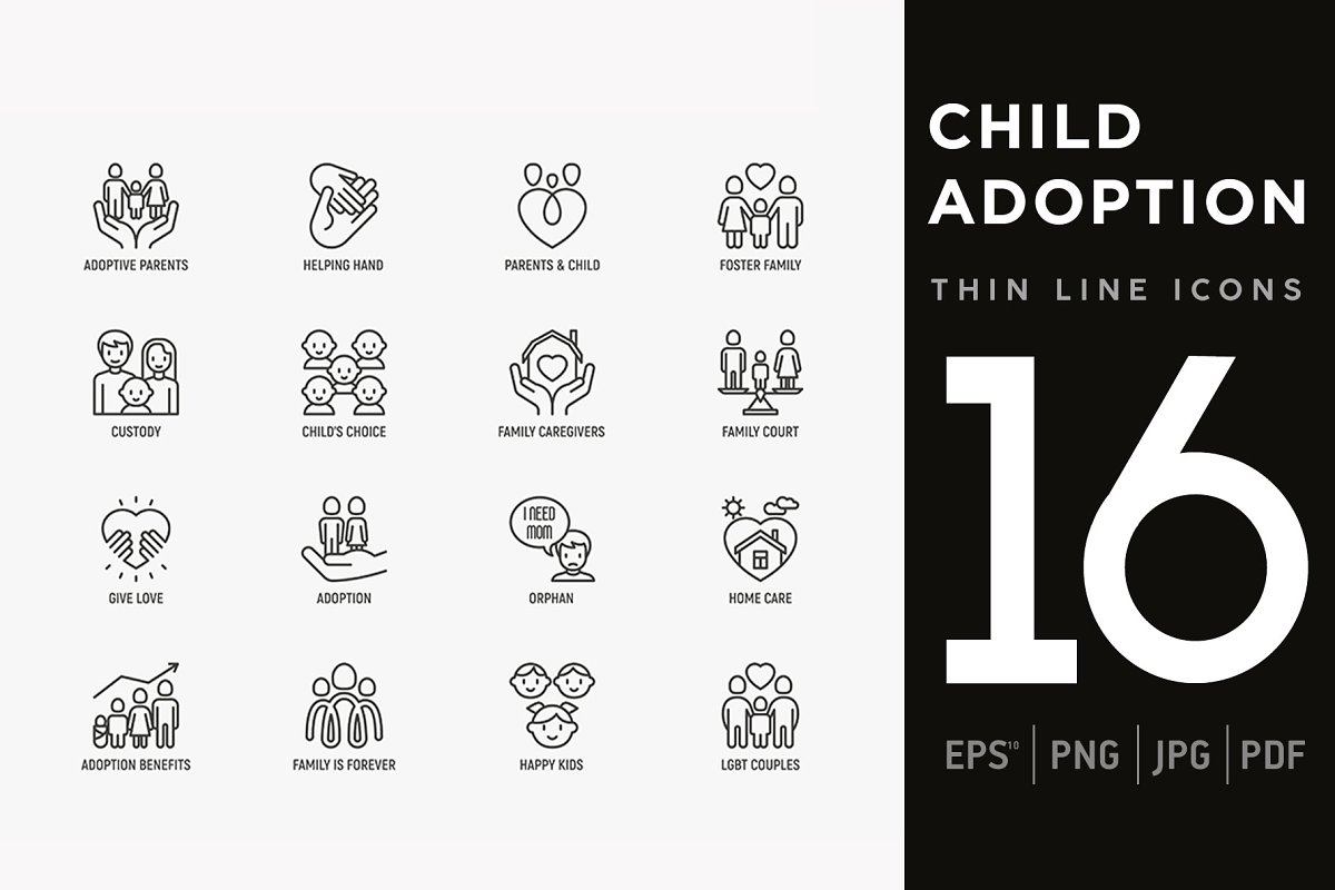 Child Adoption | 16 Thin Line Icons