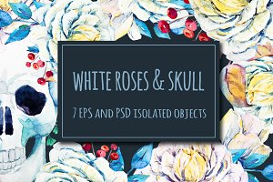 Watercolor roses & skull set