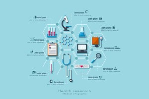 Medical research infographic set