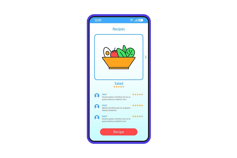 Healthy food recipes interface