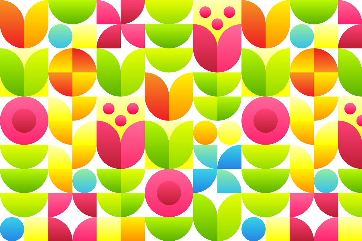 Abstract flowers seamless pattern.
