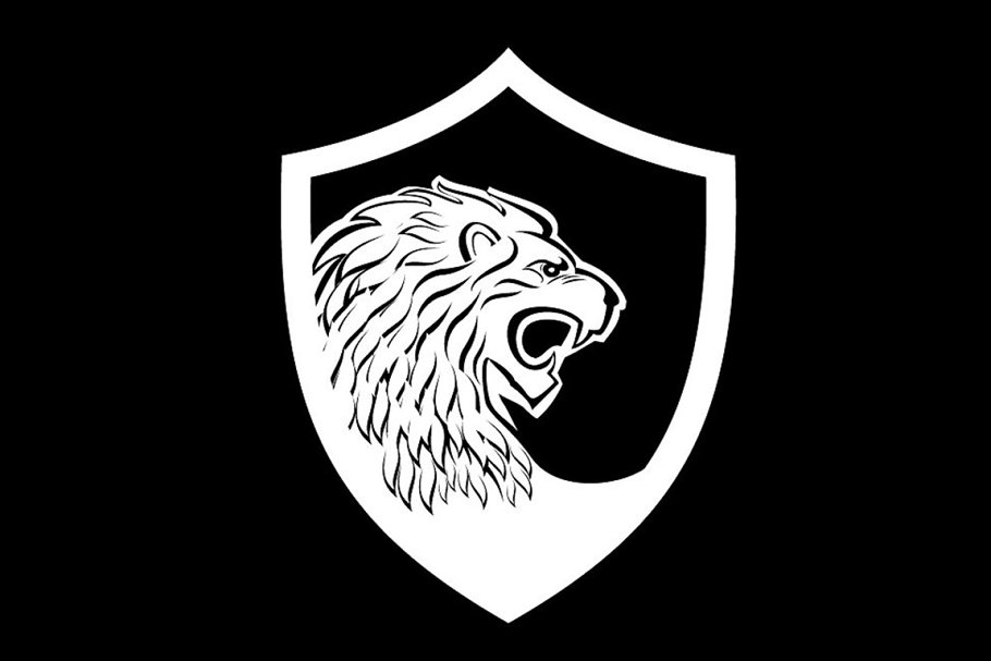 lion shield logo template