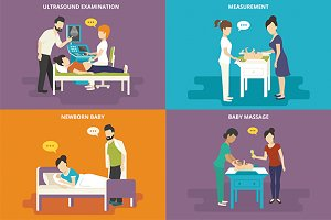 Family flat illustrations set #15