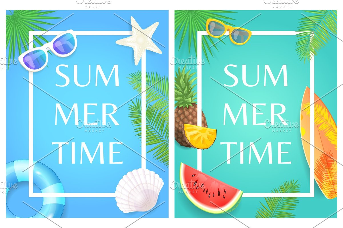 Summertime Banners with Sunglasses
