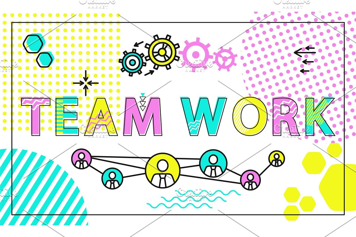 Team Work Poster and Icons Vector