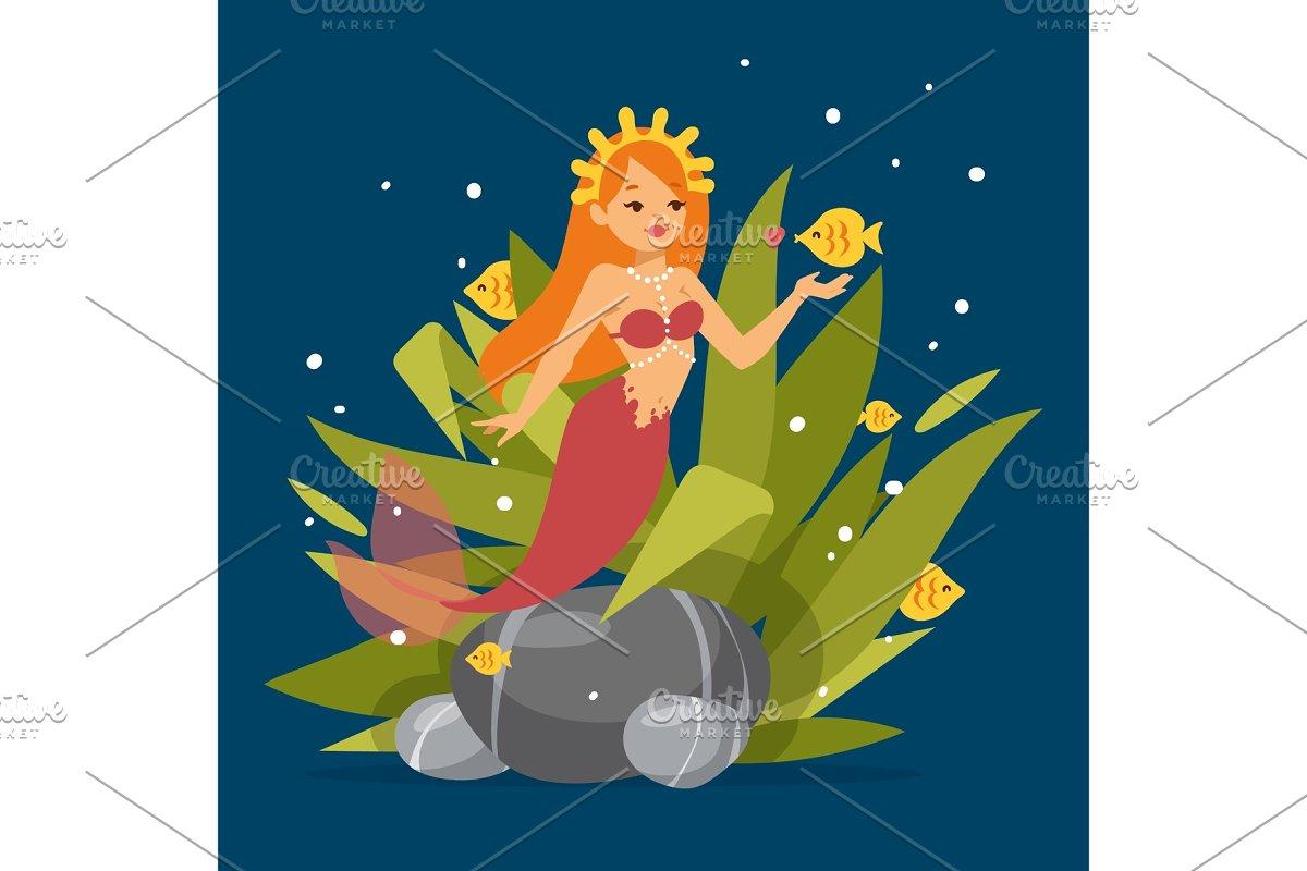 Cute mermaid princess with red hair