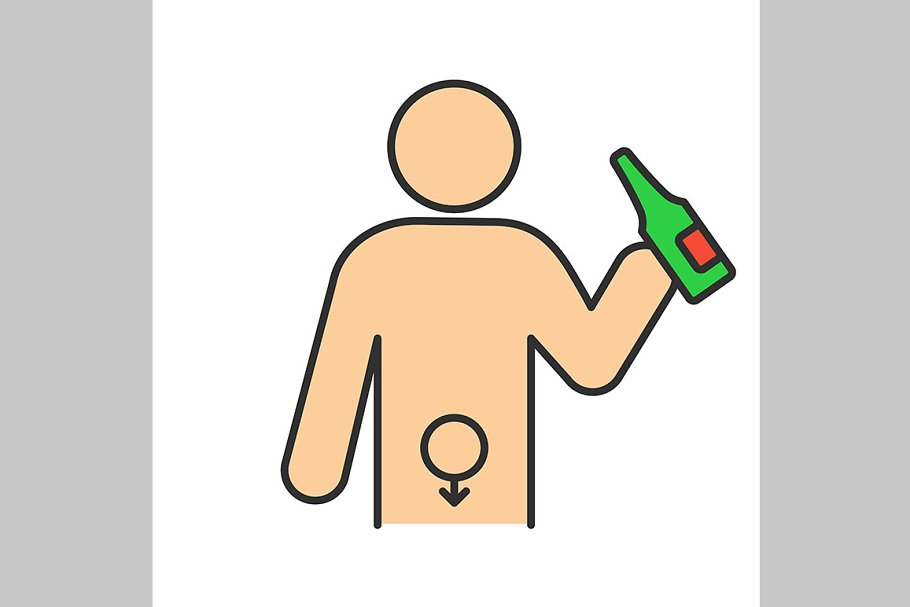 Alcohol abuse color icon