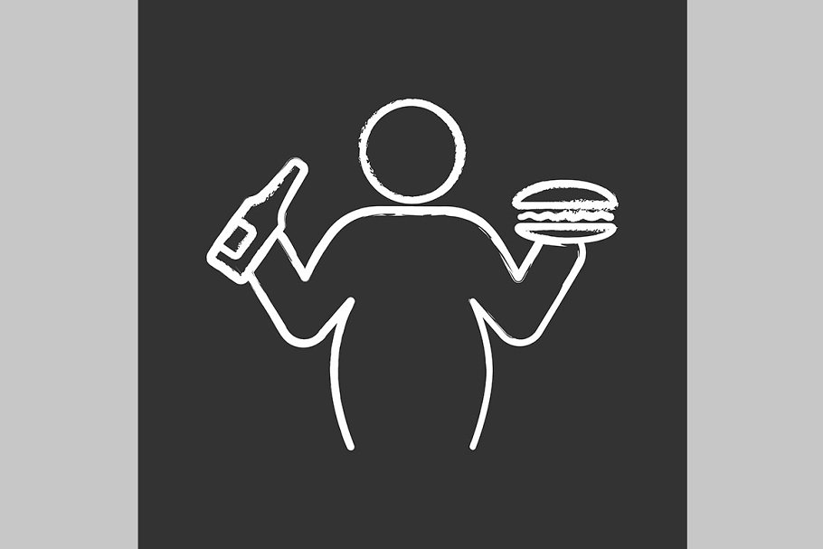 Overweight and obesity chalk icon