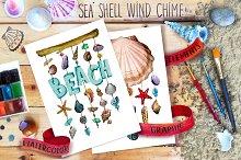 Watercolor sea shell, Nautical set