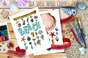 Watercolor sea shell, Nautical set