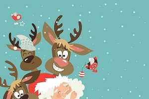 Santa and reindeers take a selfie