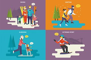 Family flat illustrations set #16