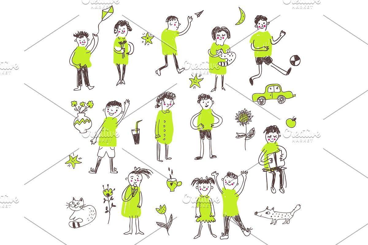 Kids figures funny set doodle
