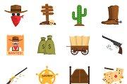 Cowboy flat icons set