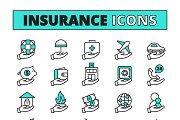 Insurance line icons set