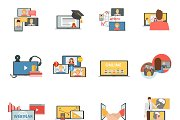 Web conferences and seminars icons