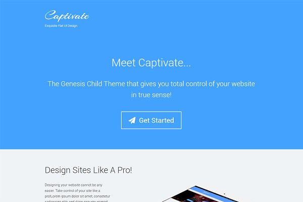 WordPress Landing Page Themes: Creatika - Captivate WordPress Flat UI Theme
