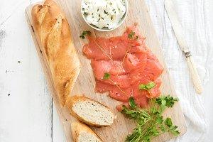 Salmon, ricotta and fresh parsley