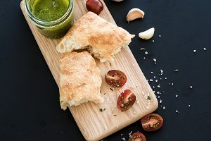 Ciabatta bread and pesto sauce
