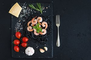 Black pasta spaghetti with shrimps