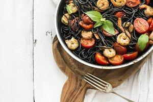 Black pasta spaghetti with shrimps