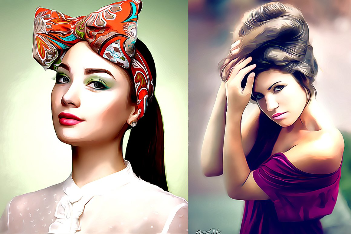 Pro Cartoon Oil Painting Effect Actions Creative Market